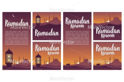 Set horizontal, vertical, square posters Ramadan kareem lettering with lamp, minarets, crescent and star in night sky.