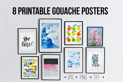 8 PRINTABLE Gouache Wall Art Posters