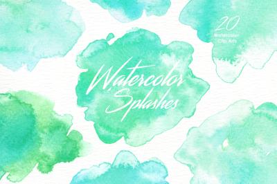 Mint Watercolor Splashes Clipart