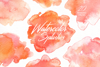 Peach Glow Watercolor Splashes Clipart