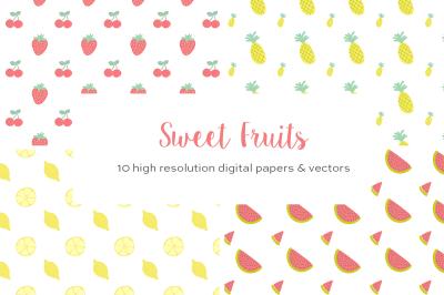 Summer Fruits Vector Patterns