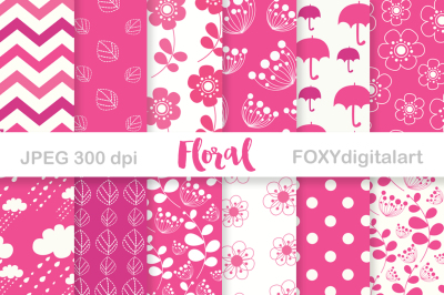 Digital Paper Floral Pink Scrapbook