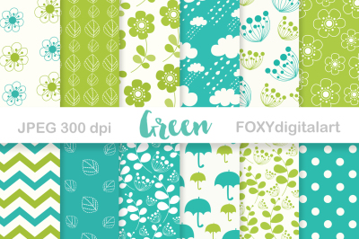 Digital Paper Pack Scrapbook Green Lime