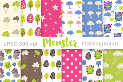 Monster Digital Paper Scrapbook