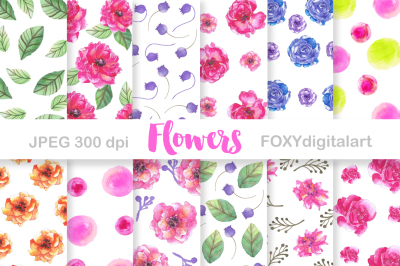 Watercolor Flowers Rose Digital Paper Scrapbook