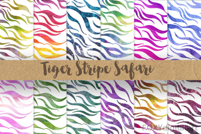 Animal Print Digital Paper Tiger Stripes Zebra Print Safari