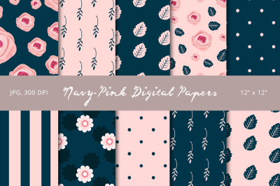 Navy-Pink Digital Papers