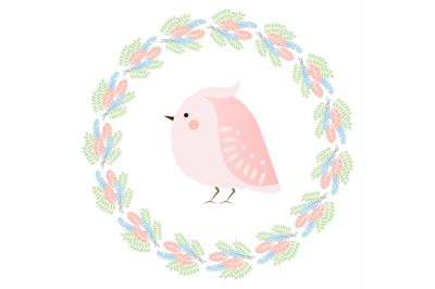 Cute kawaii spring bird and feathers wreath. Seasonal vector illustration