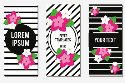 Flyer design template with striped background and exotic pink flowers. Fashionable invitations, advertisement banners, floral frames, presentation covers, brochures. Vector illustration