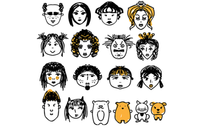 Doodle people faces. Hand drawn man and woman avatars, cute animals. Artistic design elements
