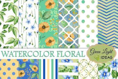 Watercolor Floral Digital Papers, Spring Backgrounds