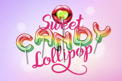 Sweet candy lollipop alphabet