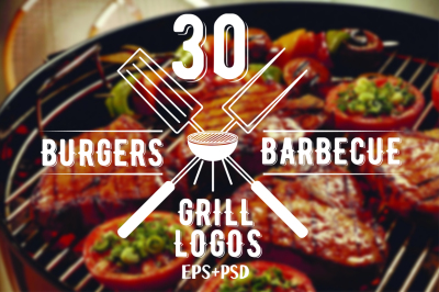 Burgers and barbecue logos bundle. Grill vector labels