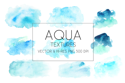Aqua Watercolor Textures Vector&PNG