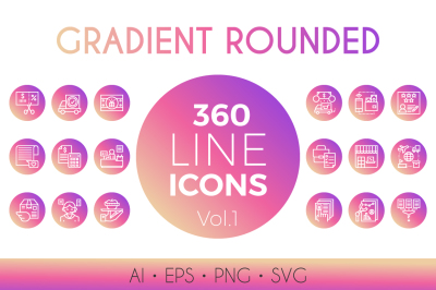 360 Gradient Rounded Line Icon Vol.1