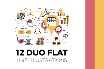 12 Flat Line Web Banner Illustrations