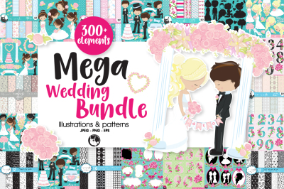 Mega Wedding Bundle, over 300+ Elements