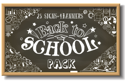 Back to school vector illustrations. School signs and banners