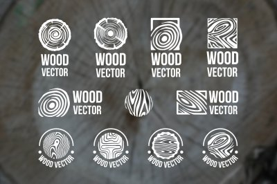 Set of wood rings texture logo