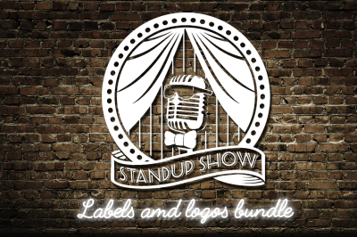 Stand up comedy show logos bundle. Open mic night event