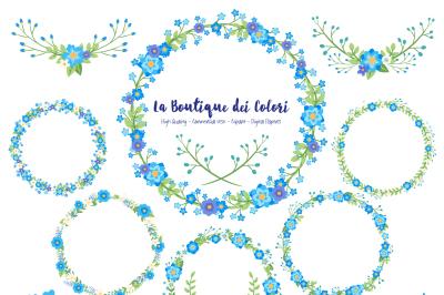 Blue Floral Wreath Clipart