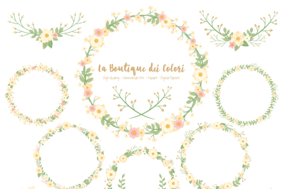 Ivory Floral Wreath Clipart