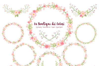 Pink Floral Wreath Clipart