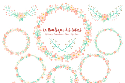 Pink and Mint Floral Wreath Clipart