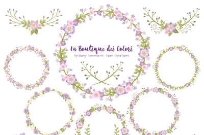 Purple Floral Wreath Clipart