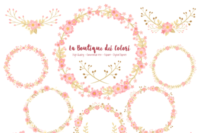 Soft Pink and Gold Floral Wreath Clipart