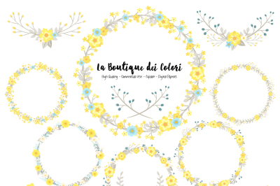 Yellow and Grey Floral Wreath Clipart