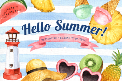 Hello Summer Watercolor Clipart
