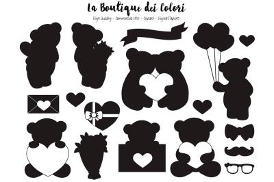 Valentine Bear Silhouette Clipart