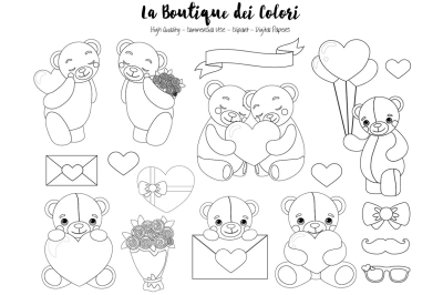Valentine Bear Stamps Clipart
