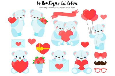 Blue Valentine Bears Clipart