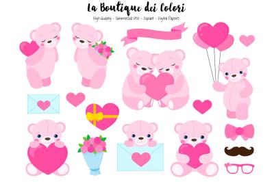 Pink Valentine Bear Clipart