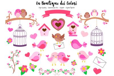 Pink Valentine Birds Clipart