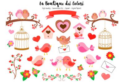 Red Valentine Birds Clipart