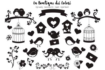 Valentine Bird Silhouette Clipart