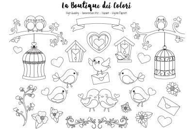 Valentine Birds Stamps Clipart