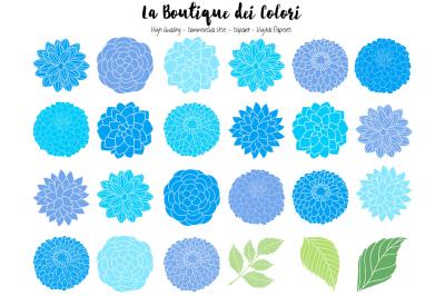 Blue Dahlia Flowers Clipart