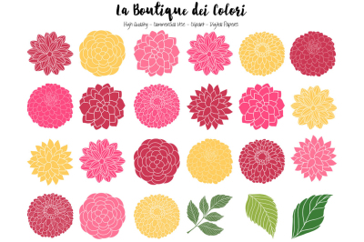 Mother's Day Dahlia Flowers Clipart