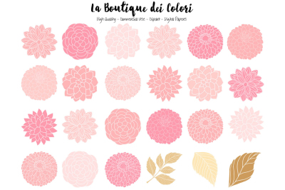 Pink and Gold Dahlia Flowers Clipart