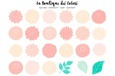 Pink and Mint Dahlia Flowers Clipart