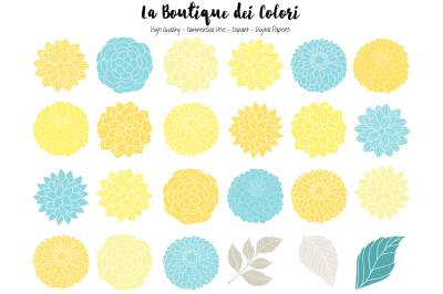 Yellow and Grey Dahlia Flowers Clipart