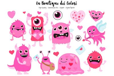 Pink Valentine Monster Clipart