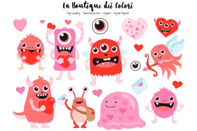 Red Valentine Monster Clipart