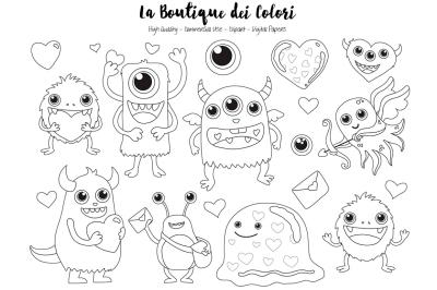 Valentine Monster Stamps Clipart