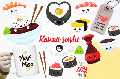 Sushi illustrations and graphics