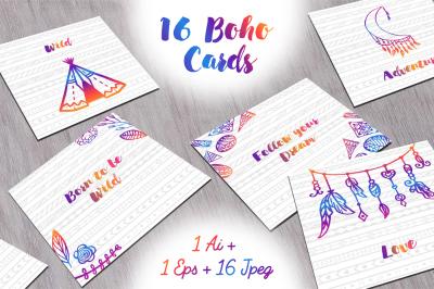 16 Boho cards